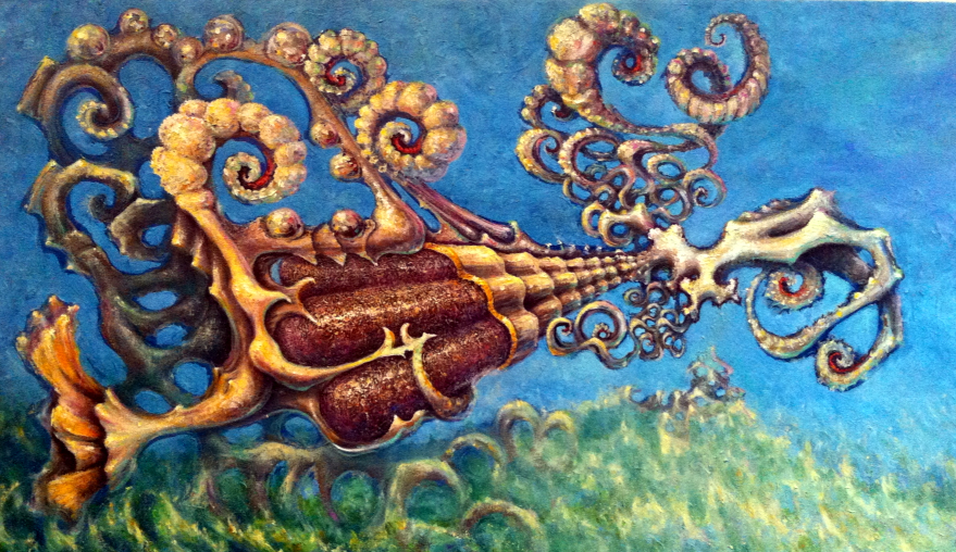 """BioOrigami 2""  oil on canvas"